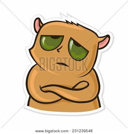 Sticker For Messenger With Funny Animal. Tired Or Upset Hamster. Vector Illustration, Isolated On Wh
