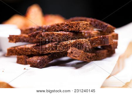 Close up croutons from black bread