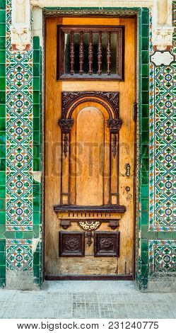 Exterior Wooden Front Door With Glass And Multi-colored Carved Ornaments, Bronze Handle, Edging From