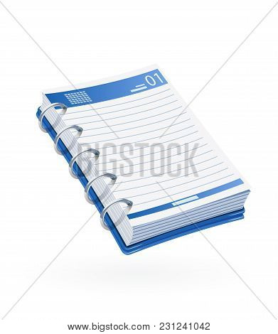 Notebook. Business Notice. Stationery Tool. Isolated White Background. Vector Illustrationn.