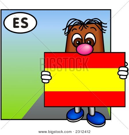 'Brownie' Showing The Flag Of Spain