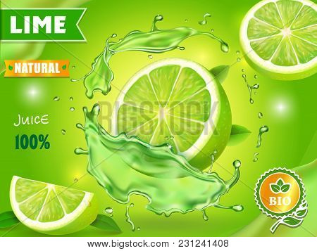 Lime Juice Poster Advertising Design. Vector Mojito Cocktail Or Citrus Tonic.