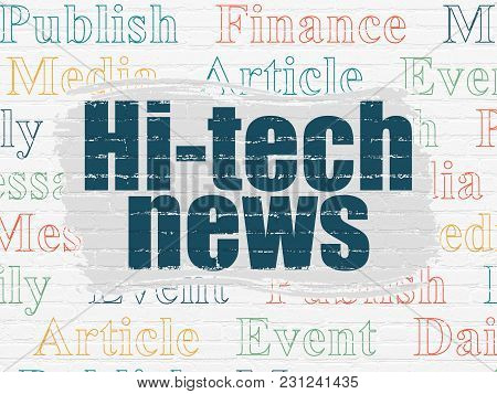 News Concept: Painted Blue Text Hi-tech News On White Brick Wall Background With  Tag Cloud