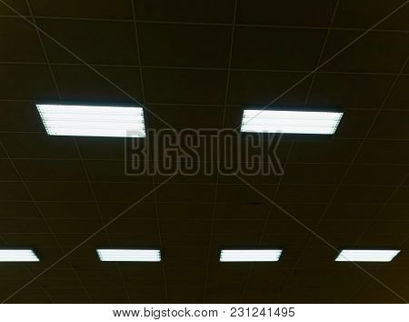 Industrial Lighting Panel Of  Low-pressure Mercury-vapor Gas-discharge Lamp.  Lights System For Ceil