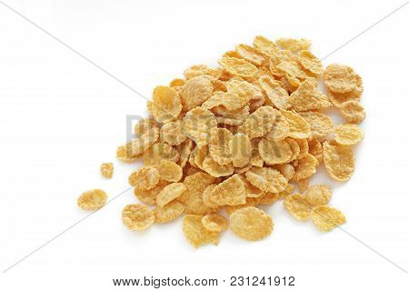 Cornflakes On A White Background Isolated Corn Flakes