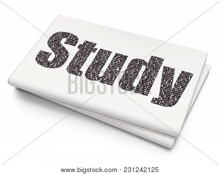 Education Concept: Pixelated Black Text Study On Blank Newspaper Background, 3d Rendering