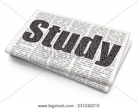 Learning Concept: Pixelated Black Text Study On Newspaper Background, 3d Rendering