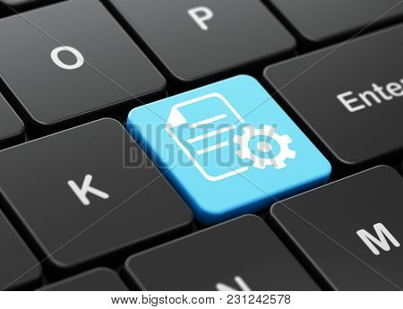 Software Concept: Computer Keyboard With Gear Icon On Enter Button Background, 3d Rendering