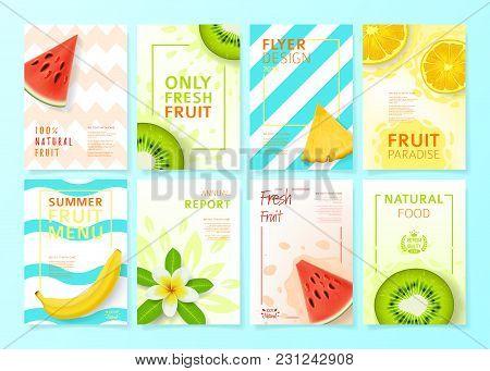 Set Of Fruit Menu Flyer Design Templates. Vector Illustration With Realistic Tropical Summer Fruit.