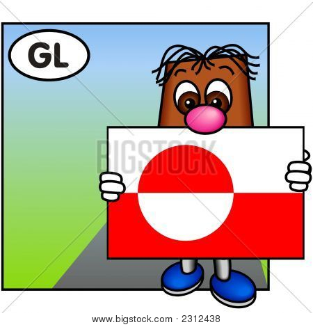 'Brownie' Showing The Flag Of Greenland