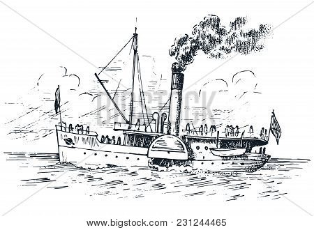 Sailboat In The Sea, Summer Adventure, Active Vacation. Seagoing Vessel, Marine Ship Or Nautical Car