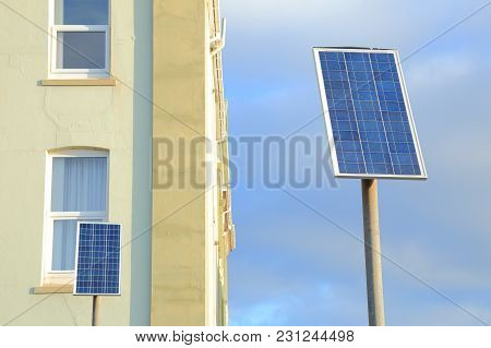 Small Solar Panels On The Street In Town Of Seaton, Devon