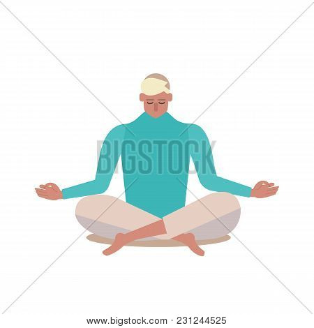Yoga. Person Sitting In A Lotus Pose Vector Illustration Flat Design.