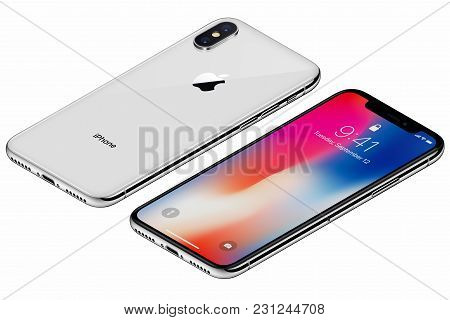 Varna, Bulgaria - January 23, 2018: Isometric Silver Apple Iphone X Front Side With Ios 11 Lockscree