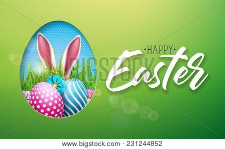 Vector Illustration Of Happy Easter Holiday With Painted Egg, Rabbit Ears And Flower On Shiny Green