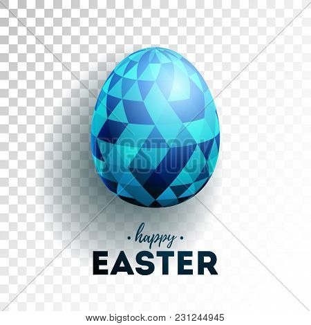 Vector Illustration Of Happy Easter Holiday With Painted Egg On Transparent Background. Internationa
