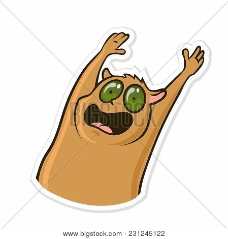 Sticker For Messenger With Funny Animal. Scared, Panicked Hamster. Vector Illustration, Isolated On
