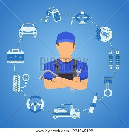 Car Services Concept For Poster, Web Site, Advertising With Two Color Flat Icons Spark Plug, Battery