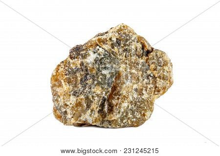 Macro Shooting Of Natural Gemstone. Raw Mineral Labrador. Isolated Object On A White Background,