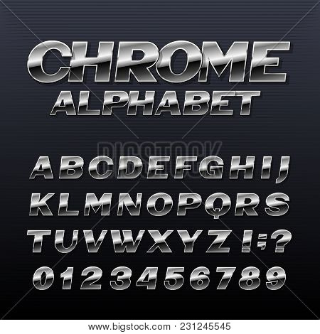 Chrome Effect Alphabet Font. Metal Numbers, Symbols And Letters. Stock Vector Typeface For Any Typog