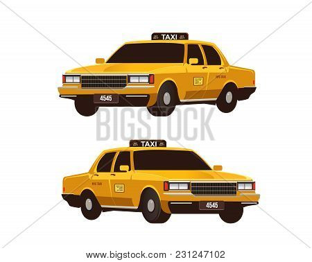 Retro Yellow Taxi Cabs Set. Isometric View. Commercial Urban Transport Isolated On The White Backgro