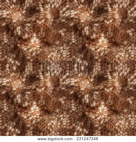Hexagonal Camouflage Seamless Patttern. Abstract Geometric Camoflage Print Texture For Fabric Textil