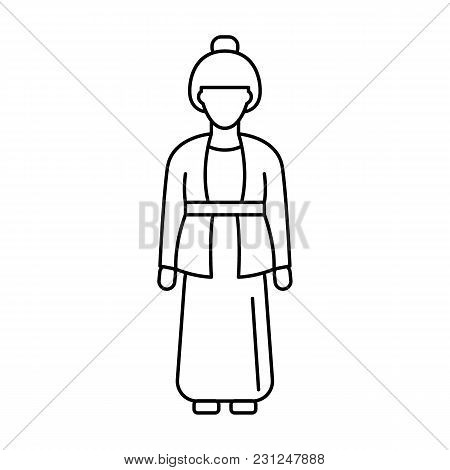 Indonesia Woman Icon. Outline Indonesia Woman Vector Icon For Web Design Isolated On White Backgroun