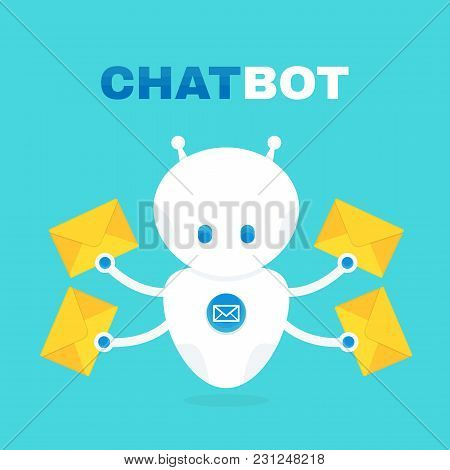 Cute Robot Chat Bot Holds Envelope With A Letter. Chatbot Responds To Customers Questions. Vector Fl