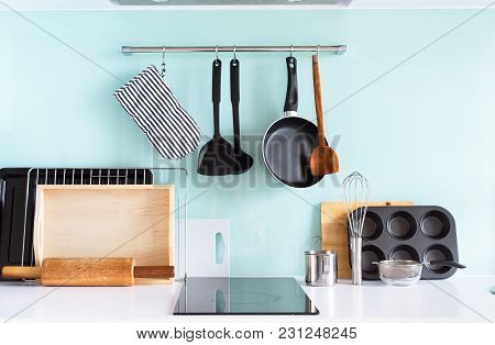 Kitchen Still Life Dishes Table Ware Chopping Board Tray Other Different Stuff On Blue Background Pa