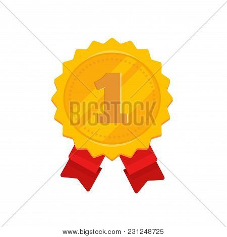 Golden Medal With 1st Place Vector Illustration, Flat Cartoon Design Of Gold Medallion In Rosette Sh