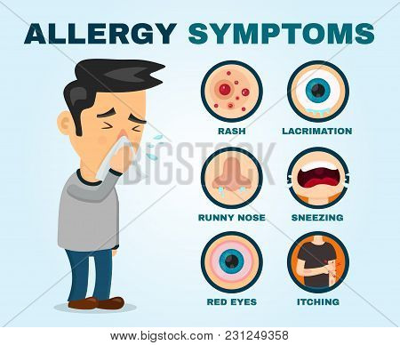 Allergy Symptoms Problem Infographic. Vector Flat Cartoon Illustration Icon Design. Sneezing Person