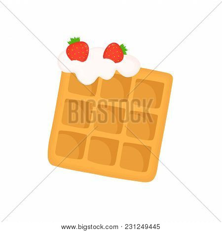 Viennese Waffle With Whipped Cream And Strawberries. Vector Flat Cartoon Illustration Icon Design. I
