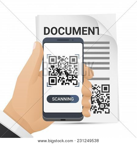 Smartphone In Mans Hand Scanning Qr Code From Document. Barcode Scanner Application On Smart Phone S