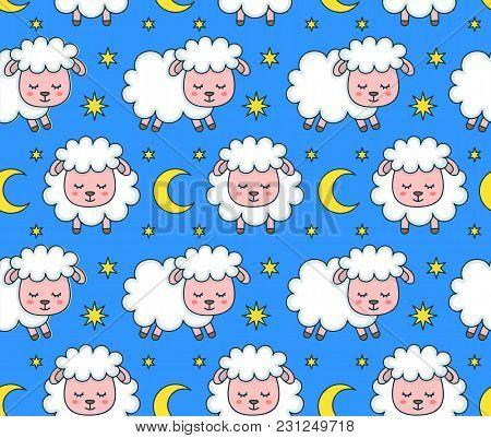 Cute Smilng Funny Sleeping Sweet Dreams Sheep Seamless Pattern. Vector Flat Line Cartoon Character I