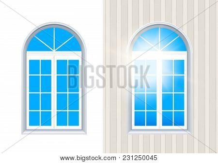 Two Closed Windows Exterior And Interior View With Blue Sky. Layered Vector Illustration Of Realisti