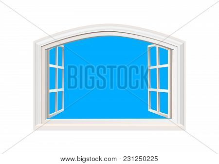 Open Window. Blue Sky In Opened Window. Realistic 3d Style. Isolated On White Double Casement Window