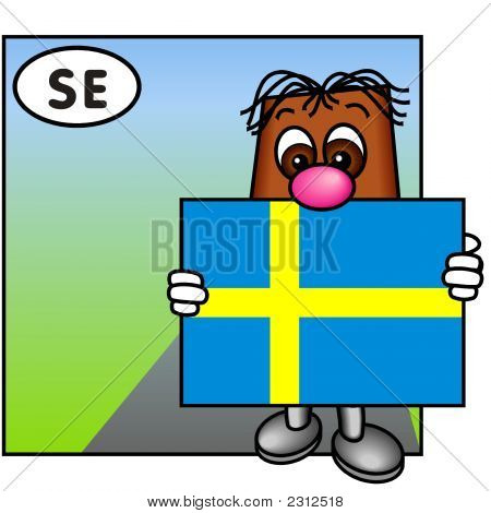 'Brownie' Showing The Flag Of Sweden