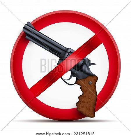 Sign With Gun And Symbol Stop Arming The Population. Vector Illustration Isolated On White Backgroun