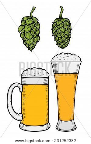 Two Glasses Of Beer With Wreath Of Hops Vintage Vector Engraving Illustration For Web, Poster, Invit
