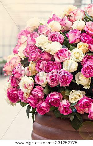 A Huge Bouquet Of White And Pink Roses.