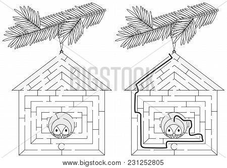 Easy Bird House Maze For Younger Kids With A Solution In Black And White