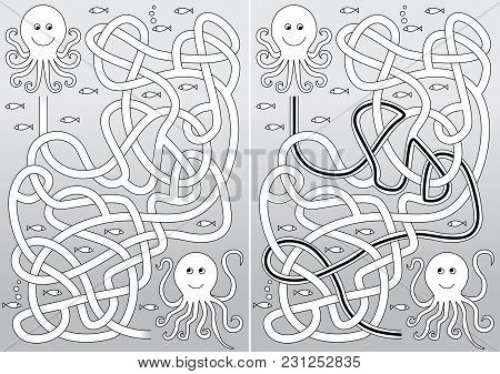 Octopus Maze For Kids With A Solution In Black And White