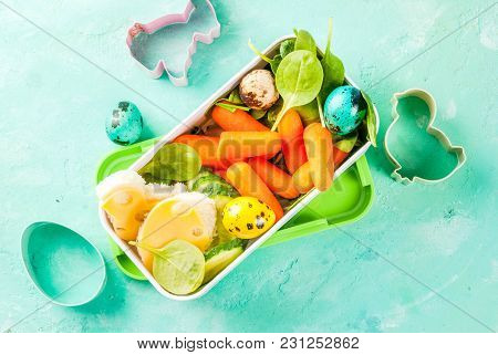 Creative Kids Breakfast Lunch Box For Easter, Sandwiches With Cheese, Fresh Vegetables - Cucumbers,