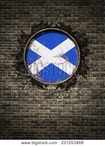3d Rendering Of A Scotland Flag Over A Rusty Metallic Plate Embedded On An Old Brick Wall