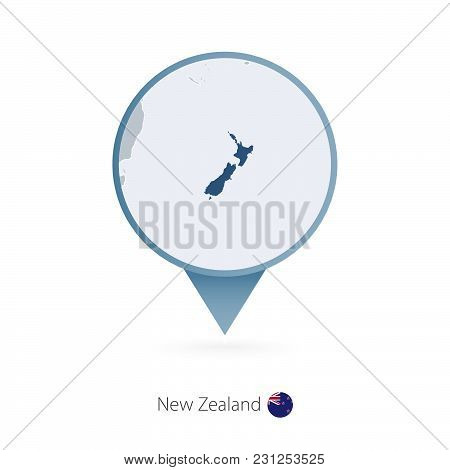 Map Pin With Detailed Map Of New Zealand And Neighboring Countries.