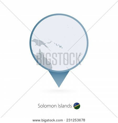 Map Pin With Detailed Map Of Solomon Islands And Neighboring Countries.