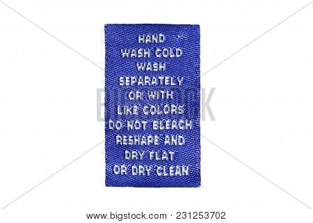 Blue Textile Care Clothes Label Isolated Over White