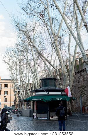 Vatican City, March 06, 2018: Vertical Picture Of Store And Trees In Vatican City, Italy