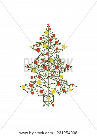 Tree With Carcass And Balls, Symbolic Image Of Pine That Is Presented In Schematic Way, Baubles Coll