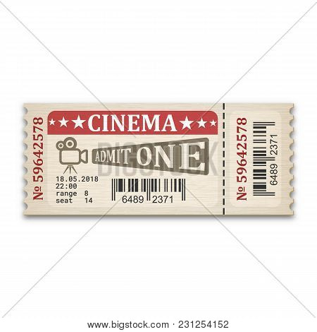 Retro Stylized Cinema Ticket. Admission Ticket Isolated On White Background. Vector Illustaration